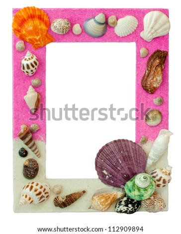 picture frame which decorated by sea shell - stock photo