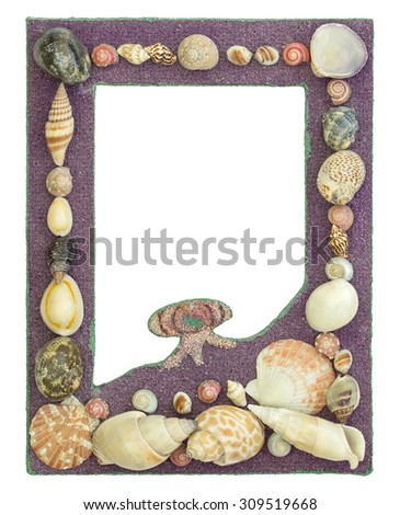 picture frame with seashell isolated on white with clipping path - stock photo