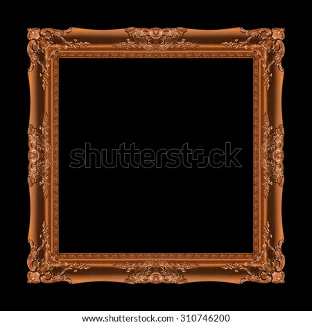 picture frame Wood carved Old isolated on a background black