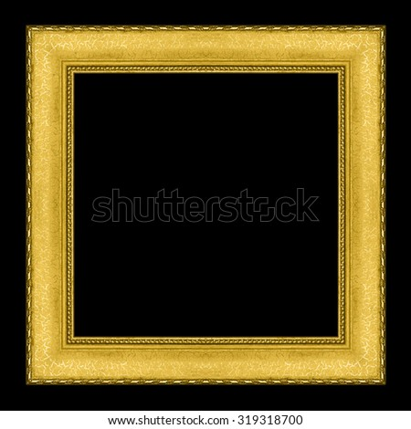 picture frame wooden Carved Golden pattern isolated on a black background. - stock photo