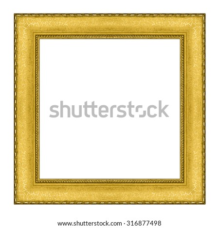 picture frame wooden Carved Golden pattern isolated on a white background. - stock photo