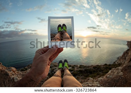 Picture frames and instagram photos instant photos human legs. Instagram and hipster photo.