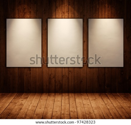 picture frames in wooden interior room - stock photo