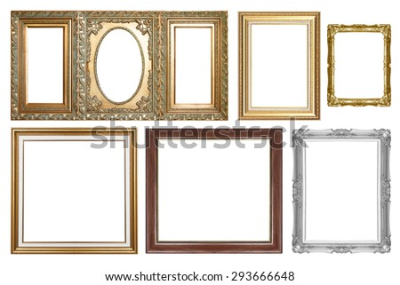 Picture Frames Set isolated on white background. - stock photo