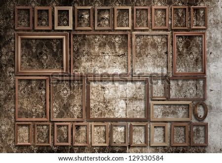 picture frames set on wall - stock photo