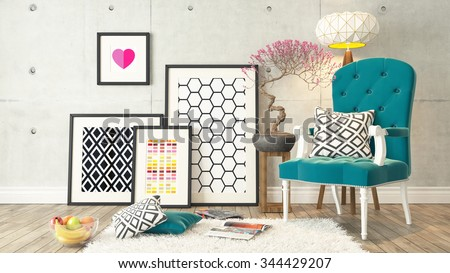 picture frames with blue bergere and concrete wall decor, background,  template design 3D rendering