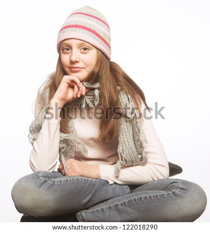 picture from a child girl with winter clothes - stock photo
