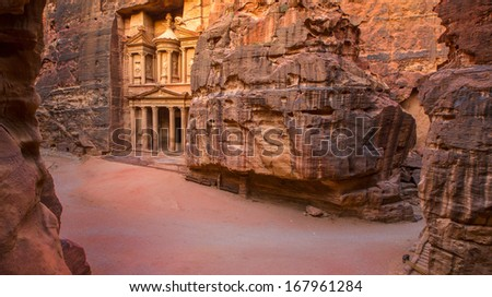Picture from top, showing complete area of entrance in City of Petra, Jordan