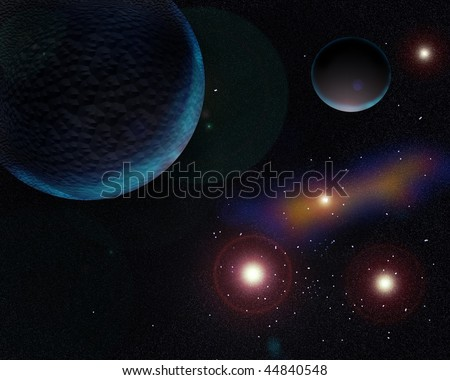 Picture  Galaxy planets and stars emit soft light - stock photo