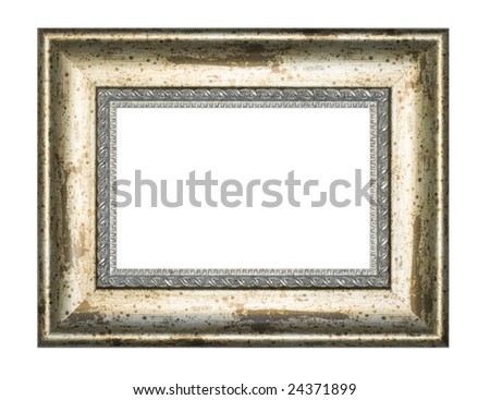 Picture gold frame with a white background - stock photo