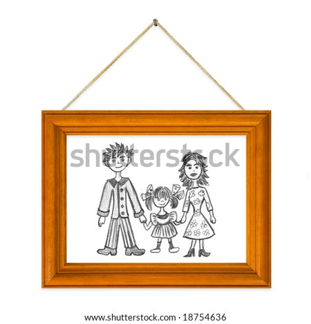 Picture Happy family in frame isolated on white background - stock photo
