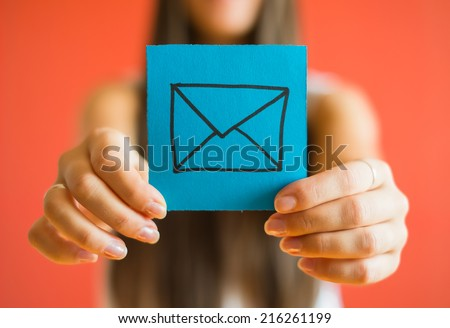 Picture icon envelope in his hand