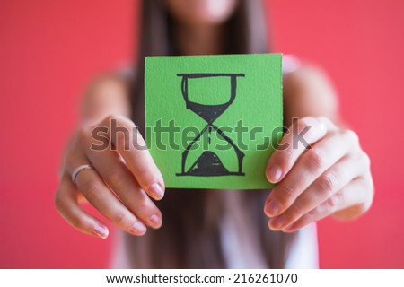 Picture icon hourglass in hand - stock photo