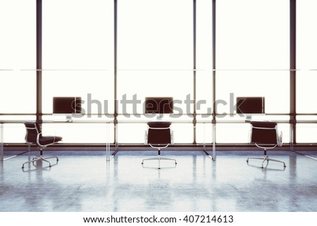 Picture modern empty coworking office in business center with panoramic windows.Generic design computers and generic white furniture  contemporary working space.Open space loft.Horizontal.3d rendering