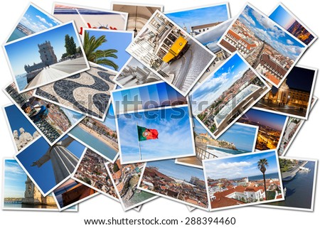 Picture Mosaic collage of  Lisbon city in Portugal - stock photo