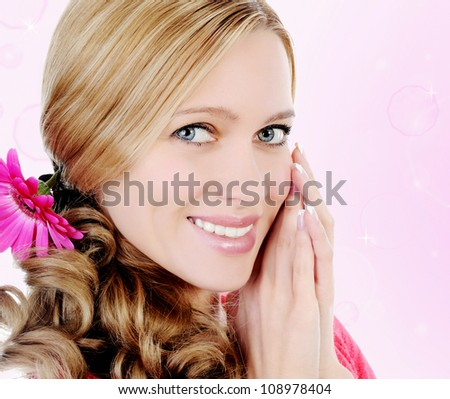 picture of a beautiful young blonde woman. - stock photo