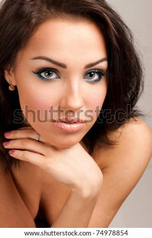 Picture of a beautiful young woman isolated on white background - stock photo