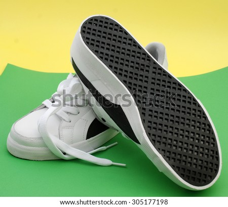 Picture of a brand new sport shoes - stock photo