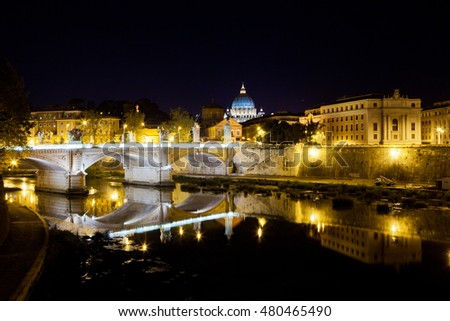 Picture of a bridge in Rome old city-centre at night