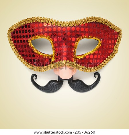 picture of a carnival mask with a fake nose and moustache on a beige background, with a retro effect - stock photo