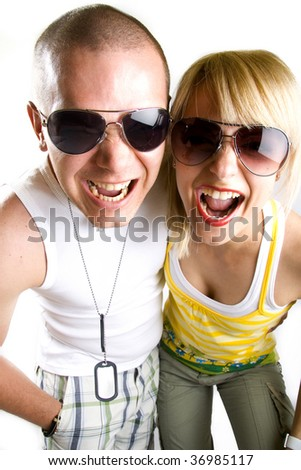picture of a casual young couple screaming