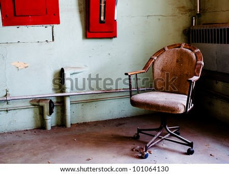 picture of a chair taken at a historic idaho prison - stock photo
