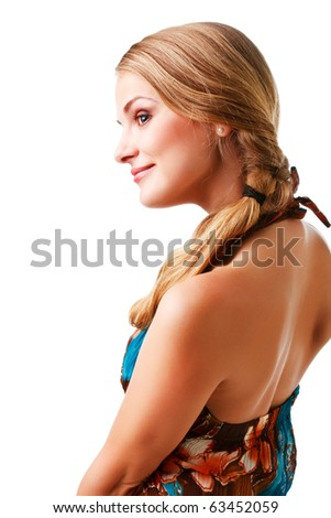 Picture of a charming young lady in colorful dress on white background