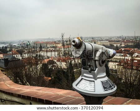 Picture of a cityscape of Prague from a hill
