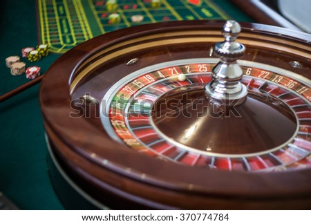 Picture of a classic casino roulette wheel.  - stock photo