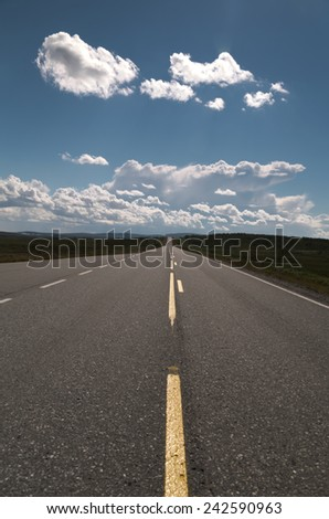 Picture of a empty long road with blue sky