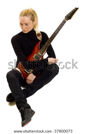 picture of a girl guitarist meditating about something