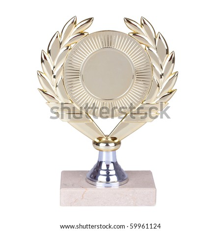 picture of a golden trophy isolated on white background - stock photo