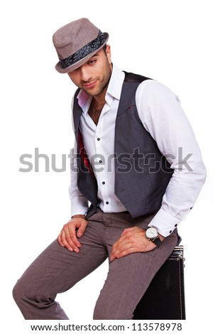 Picture of a good-looking gentleman who is ready to travel - stock photo