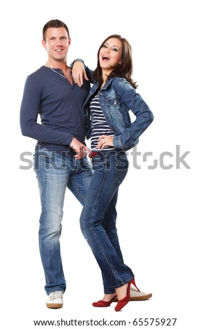 picture of a happy young couple - stock photo