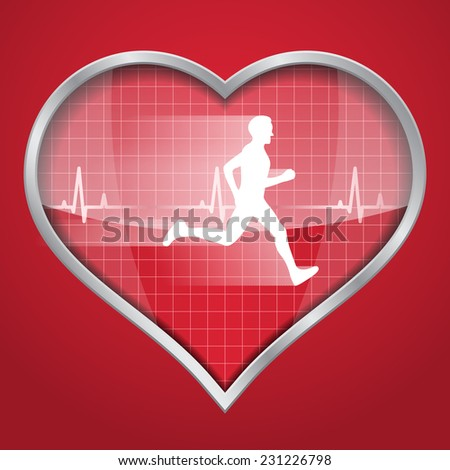 picture of a heart silhouette on red background with white running man inside it and a heartbeat diagram - stock photo