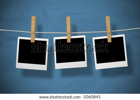 Picture of a instant photos front. On blue background.