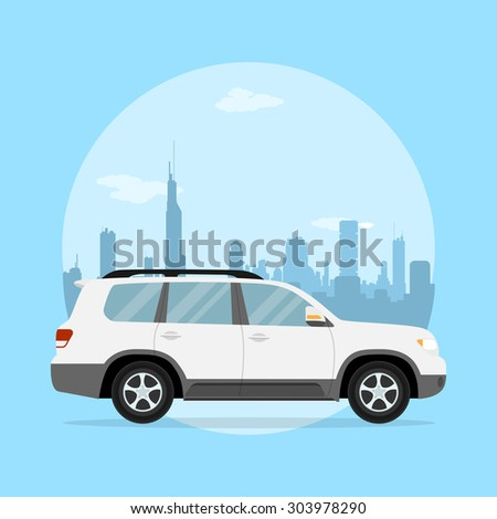 picture of a jeep in front of a big city silhouette, flat style illustration - stock photo
