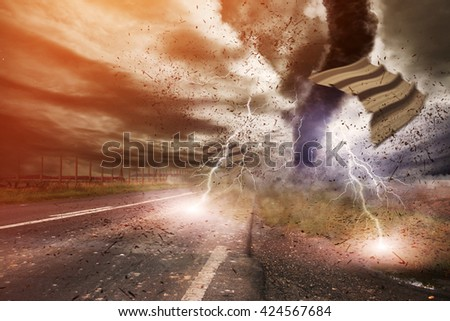 Picture of a large tornado destroying the landscape '3D rendering' - stock photo