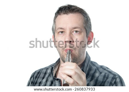 Picture of a man smoking a e cigarette