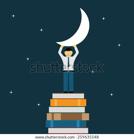 picture of a man standing on stack of books and holding the moon