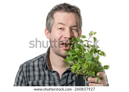 Picture of a man that is eating a green plant