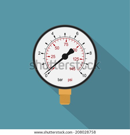 picture of a manometer, flat style icon - stock photo