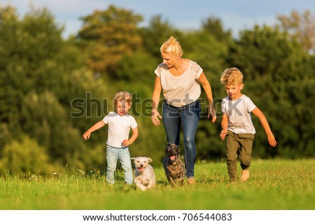 picture of a mother with two boys and two dogs who runs over a meadow