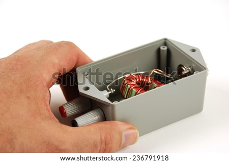 picture of a network device with connectors - stock photo