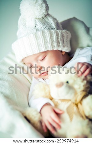 picture of a newborn baby  sleeping on a blanket  - stock photo