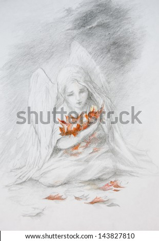 picture of a pencil, a little angel with leaves - stock photo