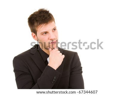 Picture of a pensive young business man in white background - stock photo