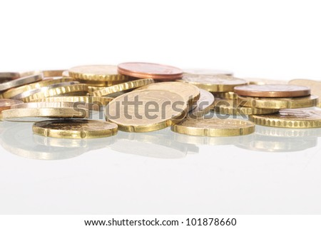 Picture of a pile of euro coins - stock photo