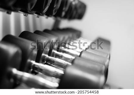 Picture of a row of dumbells - stock photo