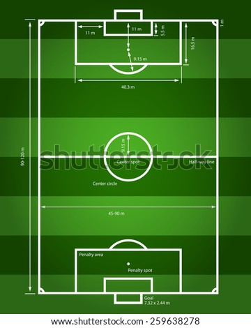 picture of a soccer field with indication of all sizes  - stock photo